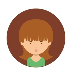 Brown sphere of half body woman with green t-shirt vector