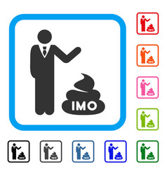 Businessman show imo shit framed icon vector