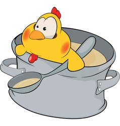 Chicken the cook cartoon vector image vector image