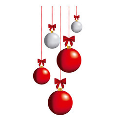 color christmas balls hanging icon vector image vector image