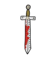 comic cartoon blood splattered sword vector image vector image