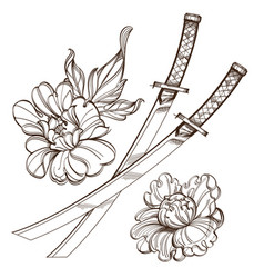 contour image of katanas and peonies black and vector image