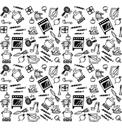 Cooking objects icons black and white seamless vector image vector image