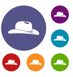 cowboy hat icons set vector image vector image