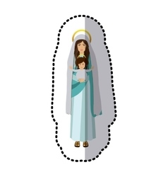 Dotted sticker saint virgin mary with baby jesus vector