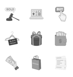 E-commerce set icons in monochrome style big vector