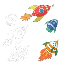Educational game for children draw the rocket vector