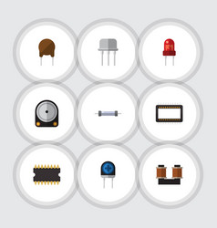 Flat icon technology set of recipient resistor vector