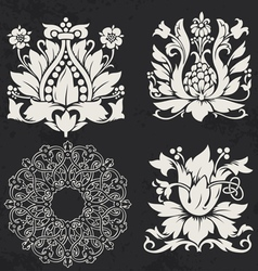 Floral and geometry design elements vector