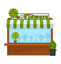 Flowers vendor booth or flower market wooden stand vector