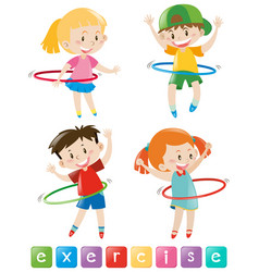 Four kids exercising with hulahoop vector