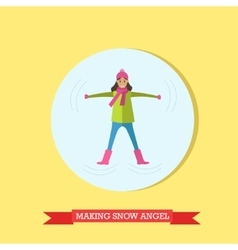Girl making snow angel in vector