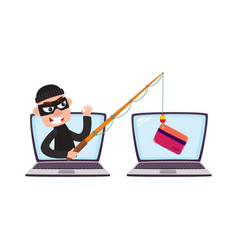 Hacker in mask with fishing rod phishing attack vector