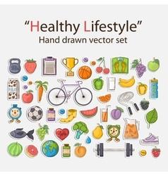 Healthy lifestyle sticker set vector image vector image