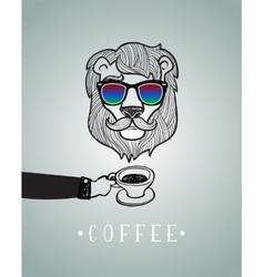 Hipster lion wearing spectacles vector