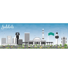 Jeddah skyline with gray buildings and blue sky vector