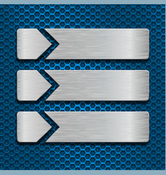 metal scratched plates on blue perforated vector image vector image