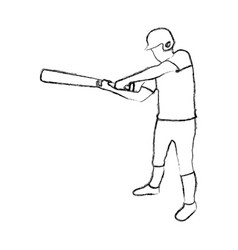 Monochrome sketch of baseball player with baseball vector