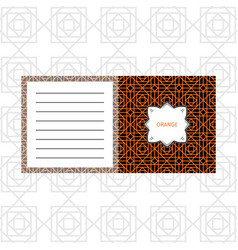 Notepad design with orange geometric pattern vector