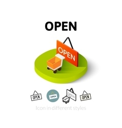 Open icon in different style vector