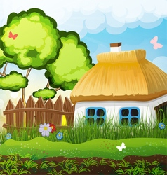 Rural landscape with a small house vector image