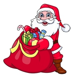 Santa claus with sack full of gifts 2 vector