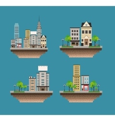 set city buildings landscape street vector image vector image