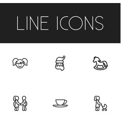 Set of 6 editable family icons includes symbols vector