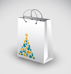 White shopping bag with christmas motive vector image