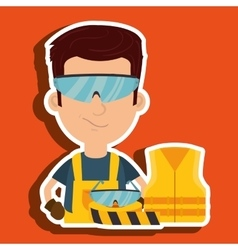 Worker vest glasses tape vector