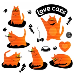 Set of funny ginger cats vector