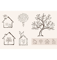 set of 5 ecology icons vector image