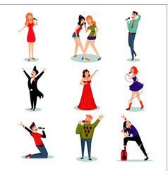 Singing people set vector