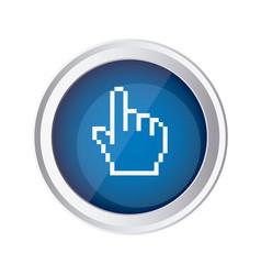 blue emblem mouse hand cursor icon vector image