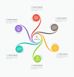 Swirl style infographic template with 6 options vector