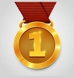 first place award gold medal with red ribbon vector image