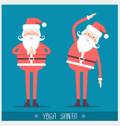 Santa claus doing yoga christmas card vector