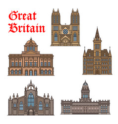 Travel landmark of great britain icon set vector