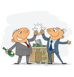 Two businessmen celebrate deal vector