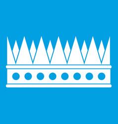 Regal crown icon white vector