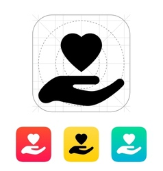 Hand with heart icon vector image