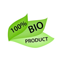 Green label with tag 100 bio product vector
