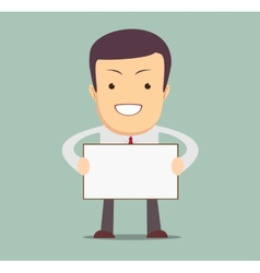 Businessman holding a blank message board vector