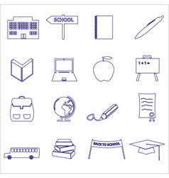 Simple blue outline school icons set eps10 vector