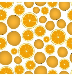 Colorful orange fruits and half fruits seamless vector