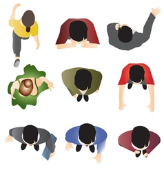 People standing top view set 10 vector