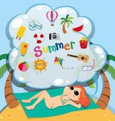 Girl in bikini sunbathing on the beach vector image