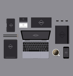 Dark identity mock-up template on gray background vector