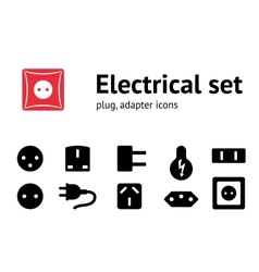 Electric plug adapter socket base icon set vector