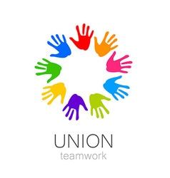 union hands teamwork logo template vector image